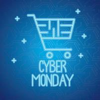 cyber monday neon lettering with shopping cart vector