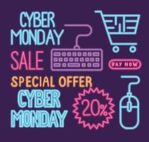cyber monday sale neon lettering with bundle icons vector