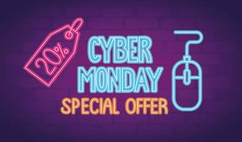 cyber monday neon lettering with mouse and percent tag vector