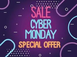 cyber monday sale neon lettering label vector