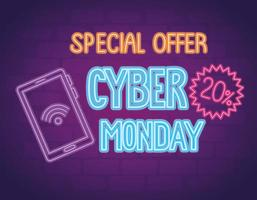 cyber monday neon lettering with smartphone and lace vector