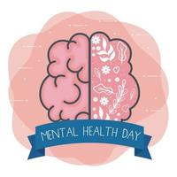 mental health day with brain vector design