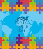 world mental health day with puzzles and world map vector design