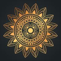 mandala flower shaped gold vector design