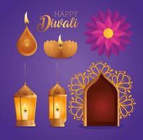 Happy diwali diya candles lanterns flower and window vector design