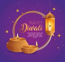 Happy diwali diya candles and lantern vector design