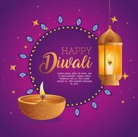 Happy diwali diya candle and lantern vector design
