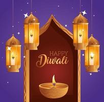 Happy diwali diya candle in window and lanterns vector design