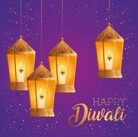 Happy diwali lanterns vector design