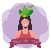 mental health day with plant in woman vector design