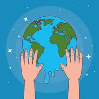 Global handswashing day and hands with melted world vector design