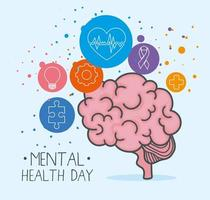 mental health day with brain and icon set vector design