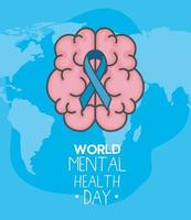 world mental health day with ribbon on brain vector design