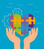 mental health of puzzles heart over hands vector design
