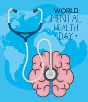 world mental health day with brain and stethoscope vector design