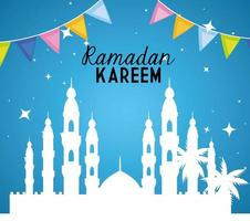 ramadan kareem poster with taj mahal vector