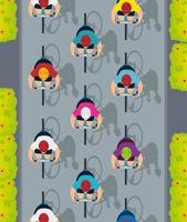 view aerial of group cyclists in championship vector