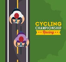 cycling championship racing poster with view aerial of cyclists vector