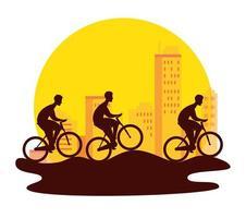 silueta, grupo, de, ciclistas, en, campeonato vector