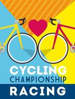 cycling championship racing poster with bikes and heart vector