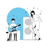 hombre con guitarra y mujer cantante vector