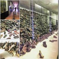 Oswiecim, Polonia, 15 de septiembre de 2017 - zapatos judíos en exhibición en el campo de concentración de Auschwitz foto
