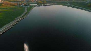 High fountains at sunset Air shooting from the drone video
