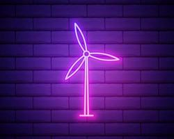 Glowing neon Wind turbine icon isolated on brick wall background. Wind generator sign. Windmill for electric power production. Vector Illustration