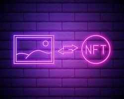 NFT non fungible token glowing neon vector illustration. Digital Art Concept.NFT currency icon isolated on brick wall