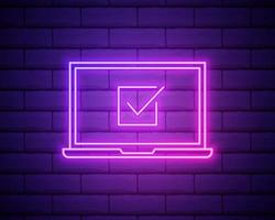 Vector Neon Laptop with Abstract List and Check Mark Isolated on Brick Wall Background, Shining Liner Illustration on Dark Backdrop.