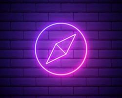 Glowing neon line Wind rose icon isolated on brick wall background. Compass icon for travel. Navigation design. Vector Illustration