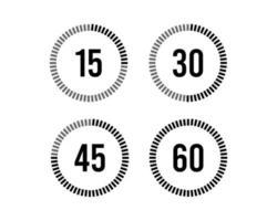 reloj, temporizador icono de paso de tiempo establecido de 15 minutos a 60 minutos vector