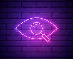 luz de neón. investigar icono. lupa con símbolo de ojo. diseño gráfico brillante. pared de ladrillo. vector
