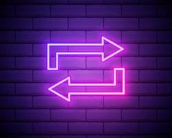 Glowing neon line Refresh icon isolated on brick wall background. Reload symbol. Rotation arrows in a circle sign. Vector Illustration