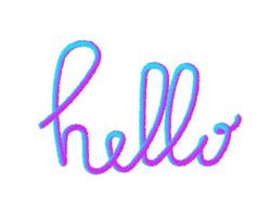 Hello fur 3d word hand lettering vector greetings elements for cards, banners, posters, scrapbooking, pillow, cups and clothes design. Fluffy effect isolated on white background