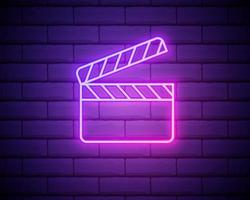 Glowing neon Movie clapper icon isolated on brick wall background. Film clapper board icon. Clapperboard sign. Cinema production or media industry concept. Vector Illustration