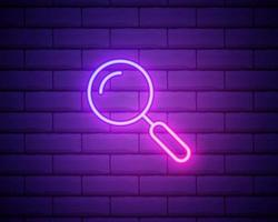Glowing neon Magnifying glass icon isolated on brick wall background. Search, focus, zoom, business symbol. Vector Illustration