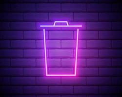 Glowing neon line Trash can icon isolated on brick wall background. Garbage bin sign. Recycle basket icon. Office trash icon. Vector Illustration