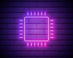 Chip, core neon icon. Simple thin line, outline vector of web design development icons for ui and ux, website or mobile application isolated on brick wall