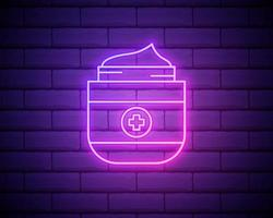 a bottle of cream icon. Elements of Bottle in neon style icons. Simple icon for websites, web design, mobile app, info graphics isolated on brick wall vector