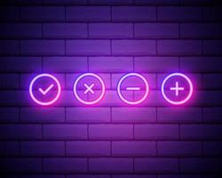 Plus, check, minus, cross sign neon icon. Simple thin line, outline vector of web icons for ui and ux, website or mobile application isolated on brick wall