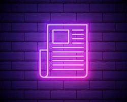 editorial, icono de neón de periódico. elementos del conjunto de diseño editorial. icono simple para sitios web, diseño web, aplicaciones móviles, gráficos de información aislados en la pared de ladrillo vector