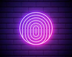 Glowing neon Fingerprint icon isolated on brick wall background. ID app icon. Identification sign. Touch id. Vector Illustration.