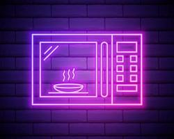 Glowing neon Microwave oven icon isolated on brick wall background. Home appliances icon. Vector Illustration.