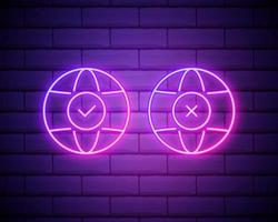 Planet Earth neon sign. Bright glowing symbol isolated on brick wall background. Neon style icon . Planet with tick and cross icons. Vote. Election. vector