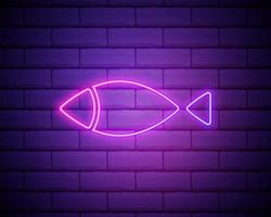 christian fish outline icon. Elements of religion in neon style icons. Simple icon for websites, web design, mobile app, info graphics isolated on brick wall. vector