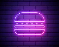 Vector neon burger icon template. Line street fast food sign illustration. Glowing hamburger logo isolated on brick wall background. Simple sandwich concept for bar, cafe, stall, delivery