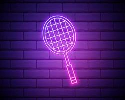 Glowing neon Tennis racket icon isolated on brick wall background. Sport equipment. Vector Illustration