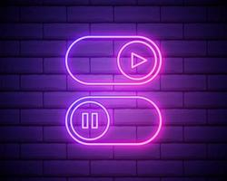 On and Off lamp Neon light Toggle switch button.Play and pause multimedia symbols.Switch buttons. Vector illustration. Fluorescent light vector illustration isolated on brick wall