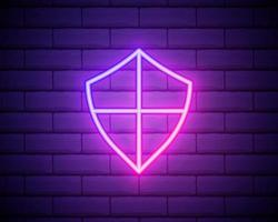 shield icon. Elements of web in neon style icons. Simple icon for websites, web design, mobile app, info graphics isolated on brick wall vector